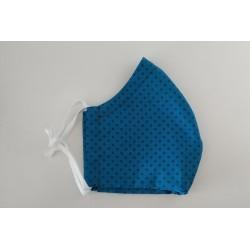 Behelfsmaske blau mit dunkelblauen Punkten