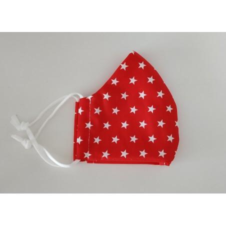 Behelfsmaske rot mit weißen Sternen