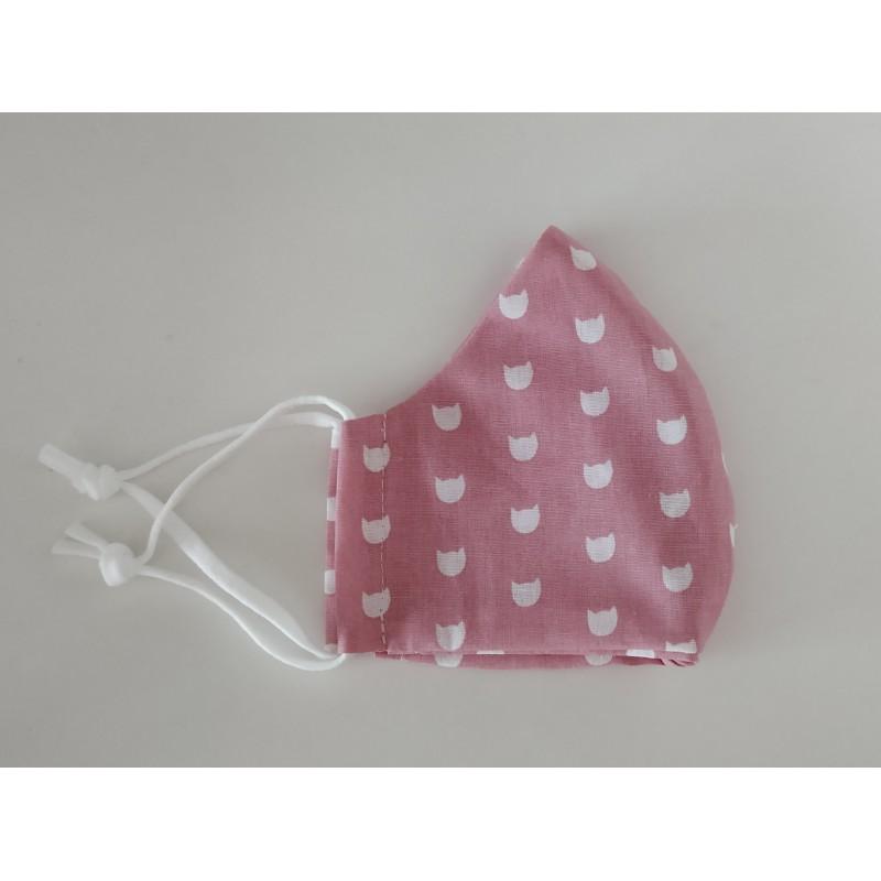 Behelfsmaske rosa Tierkopf