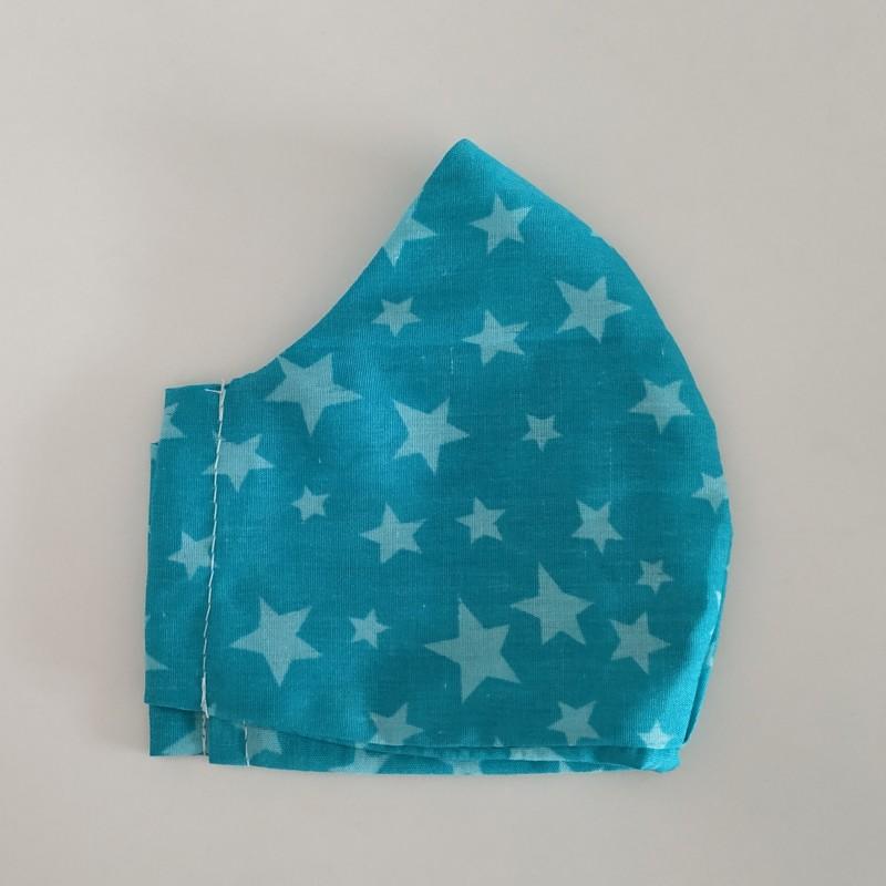Behelfsmaske türkis mit Sternen