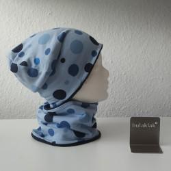 Set Punkte blau - Jersey Mütze und Loop