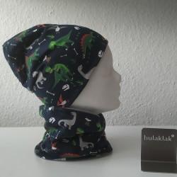 Set Dinos dunkelblau - Jersey Mütze und Loop