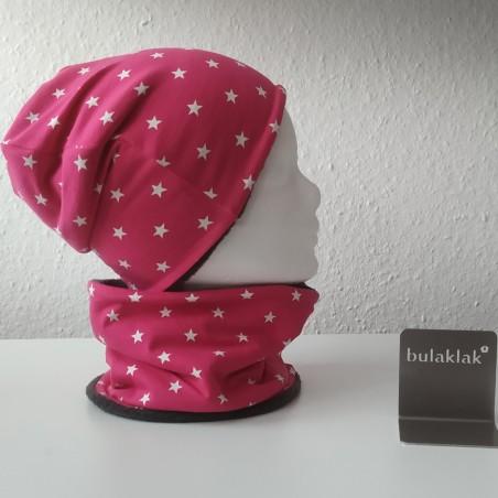 Set Sterne pink - Jersey Mütze und Loop
